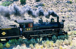 The Ghost Train, Nevada Northern Railway Museum (steam train), Robinson Canyon near Ely, Nevada USA